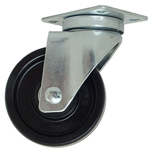 "RWM Casters VersaTrac 27 Series Plate Caster, Phenolic Wheel, Ball Bearing, 300 lbs Capacity, 4"" Wheel Dia, 1-1/4"" Wheel Width, 5-1/4"" Mount Height, 3-3/4"" Plate Length, 2-5/8"" Plate Width from RWM Casters"