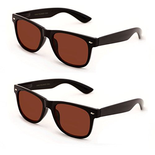 V.W.E Classic Outdoor Reading Sunglasses - Comfortable Stylish Simple Readers Rx Magnification - Not Bifocal (2 pairs black frame brown lens, ()