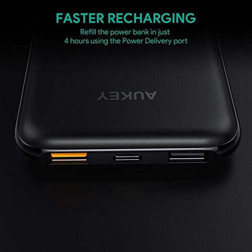 AUKEY 10000mAh electricity Bank 18W USB C portable Charger together with electricity shipping and delivery easy payment 30 Battery Pack for iPhone X Nintendo Switch and far more International Chargers