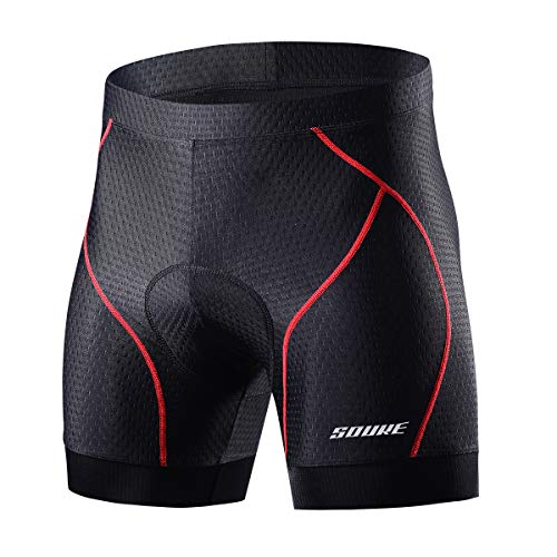 Souke Sports Men's Cycling Underwear Shorts 4D Padded Bike Bicycle MTB Liner Shorts with Anti-Slip Leg -