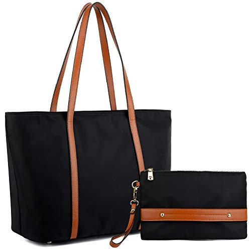 YALUXE Women's Oxford Nylon Large Capacity Work Tote Shoulder Bag Black