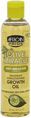 African Pride Olive Miracle Growth Oil, 8 oz (Pack of 3) - Anti Breakage Formula