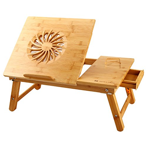 NNEWVANTE Laptop Desk Adjustable Laptop Desk Table 100% Bamboo with USB Fan Foldable Breakfast Serving Bed Tray w' Drawer - Best Laptop Lap Desk