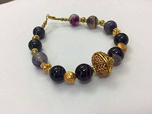 - Afghan Flourite & Gold Plated Beads Bracelet 7.7 inches Handmade Bohemian Gemstone Jewelry