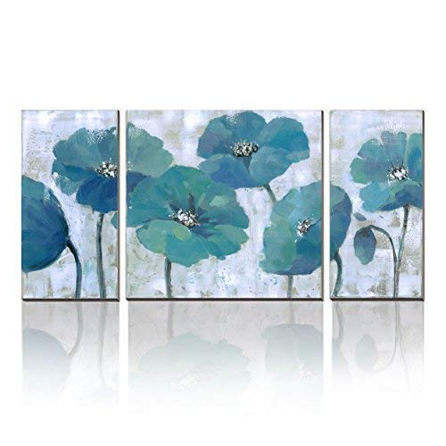 - 3Hdeko - Teal Blue Flower Wall Art Turquoise Floral Painting Extra Large Aqua Canvas Print Decorative Picture for Living Room Bedroom Office, Ready to Hang