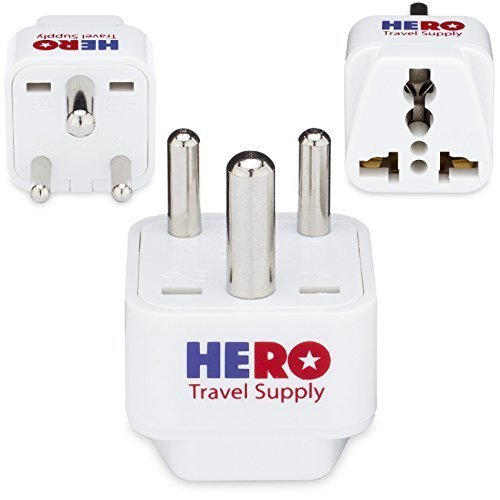 Plug India Travel - Premium US to India Power Adapter Plug (Type D, 3 Pack) - Individually Tested in the USA by Hero Travel Supply - Includes 2 Free India Ebooks & Cotton Carry Bag - Grounded, White