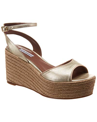a Metallic Leather Espadrille Wedge, 39.5, Metallic ()