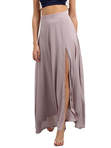 Verdusa Women's Side Slit High Waist Chiffon Maxi Skirt Light Gray S