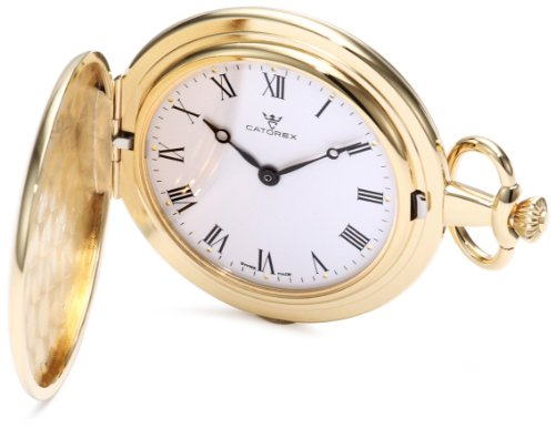 - Catorex Men's 115.6.1074.110 Les Breuleux 18k Gold Plated Brass White Dial Pocket Watch