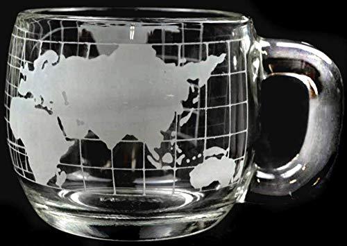 Vintage Nestle Nescafe Advertising Etched Glass World Globe Shaped Coffee Mug