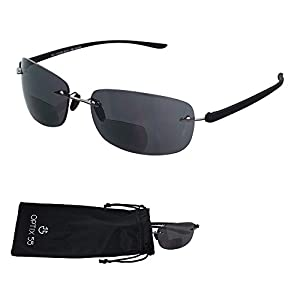 """Rimless Bifocal Reading Sunglasses - Lightweight """"Invisible Readers"""" with UV Ray Sun Protection, +100 - by Optix 55"""