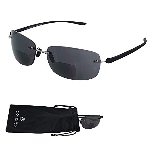 (Rimless Bifocal Reading Sunglasses - Lightweight
