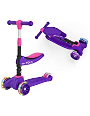 RideVOLO K02 2-in-1 Kick Scooter with Removable Seat Great for 2-6 Years Old – Adjustable Height Extra-Wide Deck PU Flashing Wheels