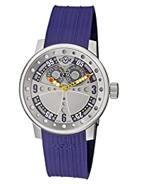 GV2 by Gevril Men's 'Powerball' Swiss Quartz Stainless Steel and Rubber Casual Watch, Color:Blue (Model: 4042R3.P)