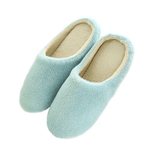 ESHOO invierno cálido antideslizante zapatos Cozy Plush Forro Polar Zapatillas de casa, algodón, café, UK 8-9 azul claro