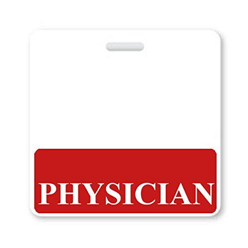 """PHYSICIAN"" Horizontal Badge Buddy with Red Border from Specialist ID, Sold Individually"