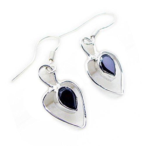 Fashion Earrings Natural Black Onyx For Women Jewelry Pear Shape Handmade Birthstone Long Hook Cabochon