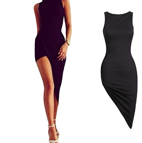 Agrintol Long Maxi Dress, Sexy Women Sleeveless Bandage Bodycon Evening Party Cocktail Long Maxi Dress (S, Black)