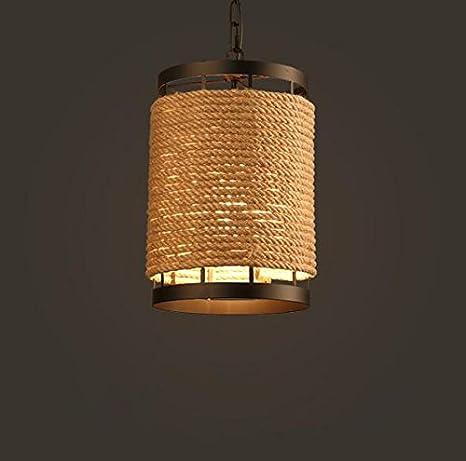 Henley lámpara colgante retro cuerda de cáñamo Bombilla ...
