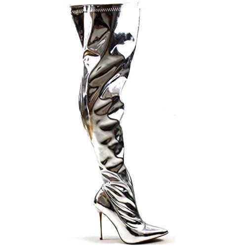 Viva Womens Fashion Oberschenkel Hohe Spitzschuh Stretch High Heel Stiletto Stiefel Silber