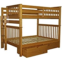 Bedz King Bunk Beds Full over Full Mission Style with End Ladder and 2 Under Bed Drawers, Honey