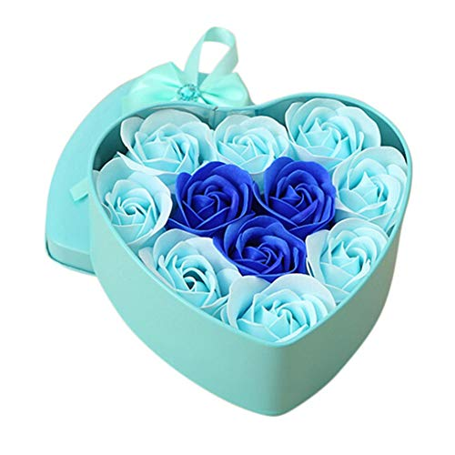 Norbi Valentine's Day Soap Rose Flower Petals Heart Shaped Tin Box Rose Petals Soap Best Gift Ideas for Women Teens Girls Mom(Double -