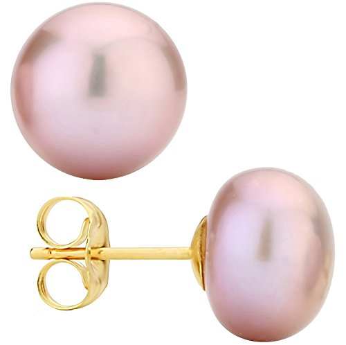 14k Yellow Gold Freshwater Cultured Button Purple Pearl Stud Earring (6.0-6.5mm) - Gold Purple Pearl Earrings