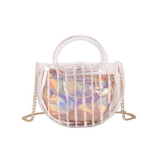 Bsjmlxg Fashion Lady Transparent Sequins Transparent Jelly Solid Color Waterproof Beach Bag Crossbody Bags ()