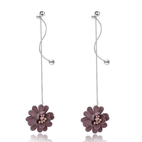 Women Stud Earrings 925 Sterling Silver Flower Hipster Fashion Jewelry Mens Women Boys by YJEdward