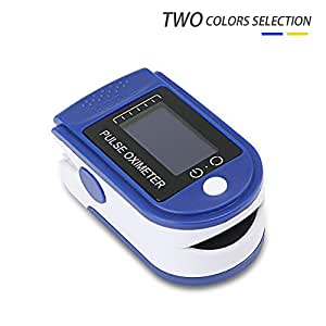 SpO2 PR Fingertip Pulse Oximeter with OLED Display and Alarming Setting,Blood Oxygen Saturation Monitor with Silicon Cover, Neck/Wrist Cord and Carrying Bag (Blue)