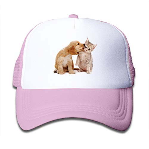 (Cocker Spaniel and Kitten Love Adjustable Mesh Hats Baseball Trucker Cap for Boys and Girls Pink)