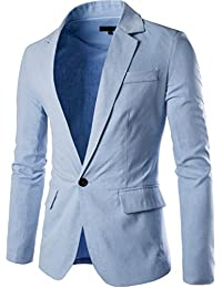 Men's Fashion Slim Fit Notched Lapel Center-Vent Back One-Button Blazer