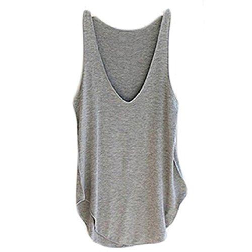 Ularma 2016 moda verano Dama de mujer sin mangas con cuello en v chaleco caramelo sueltas blusas camiseta Gris