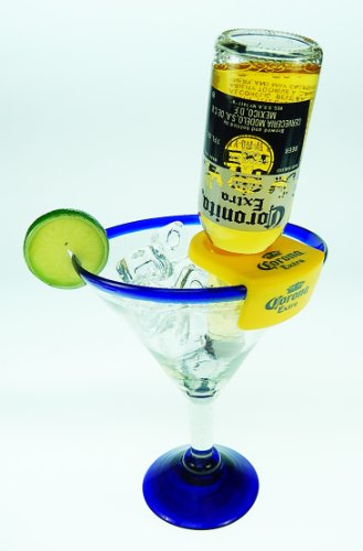 Mexican Glass Margarita Blue Rim 20 Oz with Coronarita Clips Corona Beer Holders (set of 2) by Mexican Margarita Glasses (Image #1)