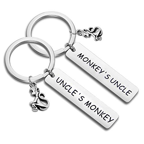 (PLITI Matching Uncle Nephew Gifts Monkey's Uncle Uncle's Monkey Keychain Gift for Uncle from Niece and Nephew (Monkey's Uncle Key Set))