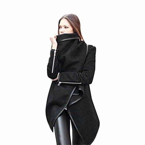 etuoji Long Sleeve Coats Irregular Hem Cashmere Overcoat Female Plus Size (3 Colors,S-XXL) - Cashmere Long Sleeve Coat