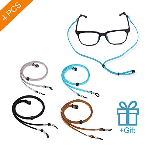 4PCS Eyeglasses Holder Strap Cord Chain, Premium Glasses Strap Cord Lanyard for Men Women Kids, Adjustable Eyewear Retainer for Glasses, Sunglasses, Prescription Glasses