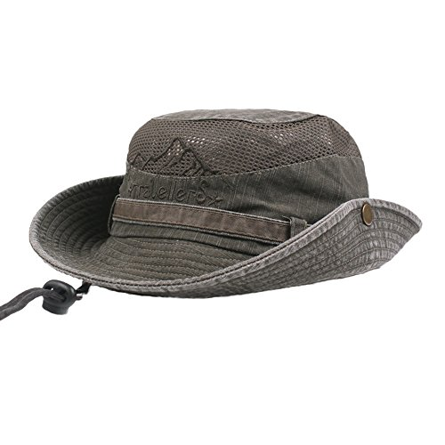 OSTELY Men Cotton Embroidery Solar Protection UPF 50+ Foldable Visor Mesh Bucket Hats Outdoor Climbing Cap(Army Green)