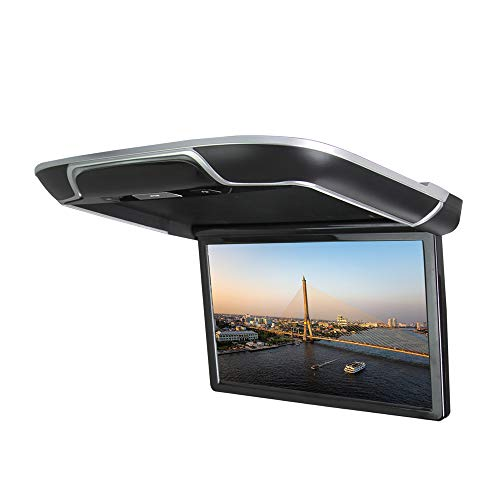 DDAUTO Android 6.0 IPS Car Roof Mount MP5 Player 13 inch Flip Down Multimedia Monitor, FM, HDMI, Bluetooth, USB, SD Card Ambient Lighting Design (Smart 4K) Black