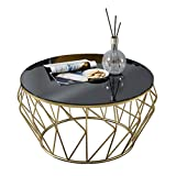 Wrought Iron Glass Coffee Table LQQGXLPortable Folding Table Round Wrought Iron Glass Coffee Table (Color : Gold)