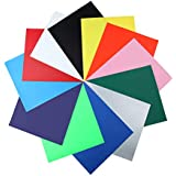 """Heat Transfer Vinyl Bundle Iron On HTV Vinyl Sheet Easy Weed - Use with Silhouette Cameo, Cricut or Heat Press Machine for DIY T-Shirt, Garments- 12 Colors,12"""" x 10"""""""