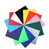 Heat Transfer Vinyl Sheet Iron on HTV for T Shirts,Hats,Clothing for Cricut and Silhouette Cameo -12 Pack(12''x 10'')