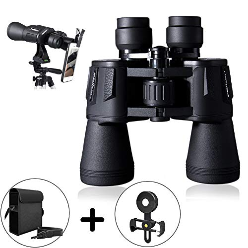 20x50 Folding HD Binoculars Professional Waterproof Telescope Weak Light Night Vision Clear Bird Watching and Vocal Concert Travel Hunting + Phone Mount