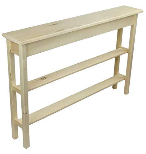 46 Unfinished Narrow Console Sofa Table with 2 Bottom Shelfs