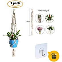 Mothers Day Gifts,Macrame Plant Hanger (with Free Gift Seamless Hook) Indoor Outdoor Hanging Planter Handmade Flower Pot Basket Cotton Rope 4 Legs 41 Inch Suitable for Round & Square (1)