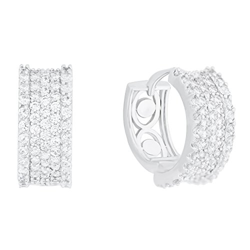 18k Gold Plated Cubic Zirconia Accent Hoop Earrings