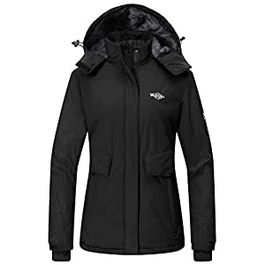 Wantdo Women's Mountain Ski Fleece Jacket Waterproof Parka Winter Raincoat