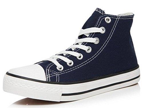 Scarpe Da Donna Casual Alte Scarpe Basse Di Tela Piatte Sneakers Blu Navy
