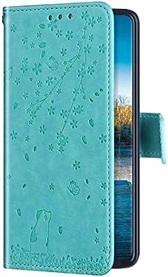 Uposao Compatible con Funda Huawei P30 Carcasa Funda Libro de Cuero Estuche Completo,Elegante Flor de Cerezo Relieve Funda Folio Flip Case Cover Wallet pour Huawei P30,Verde: Amazon.es: Electrónica