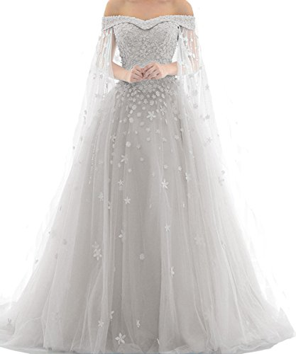 Kivary Lace Long A Line Formal Prom Dresses Evening Gowns Plus Size Silver US 18W by Kivary